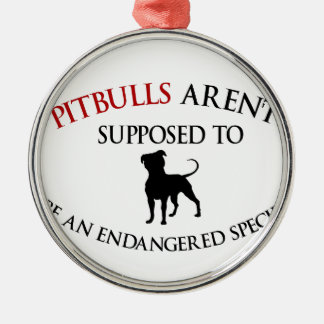 Pit bulls design cute Silver-Colored round ornament