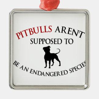 Pit bulls design cute Silver-Colored square ornament