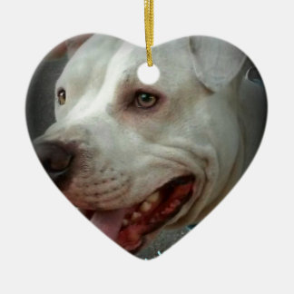Pit bulls love unconditionally ceramic heart ornament