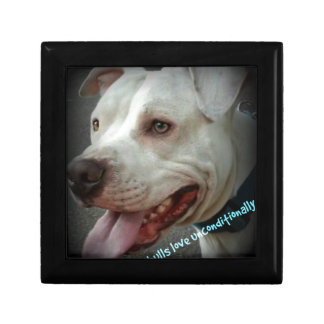 Pit bulls love unconditionally keepsake box