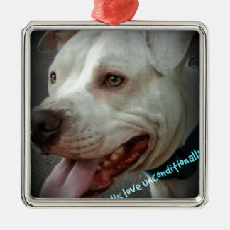 Pit bulls love unconditionally Silver-Colored square ornament