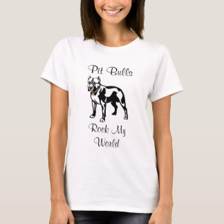 Pit Bulls Rock My World Ladies l Fitted Tee Shirt