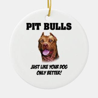 Pit Bulls Round Ceramic Ornament