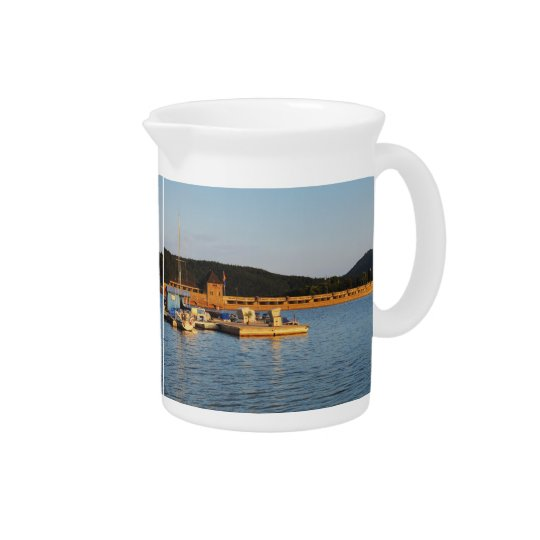 Pit Cher Edersee concrete dam in the evening Drink Pitchers