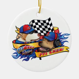 Pit Crew/Pit Bull Racing Round Ceramic Ornament