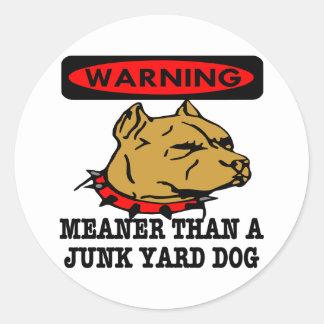 Pit Meaner Junkyard Dog Classic Round Sticker
