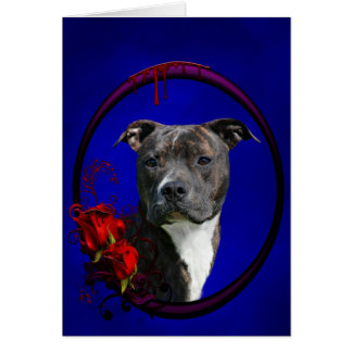 Pitbull and bloody roses greeting card