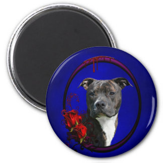 Pitbull and bloody roses magnet
