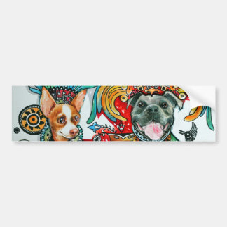 Pitbull and Chihuahua Bumper Sticker