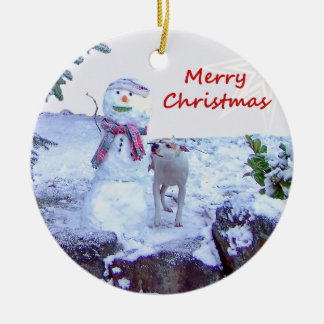 Pitbull and Snowman Christmas Round Ceramic Ornament