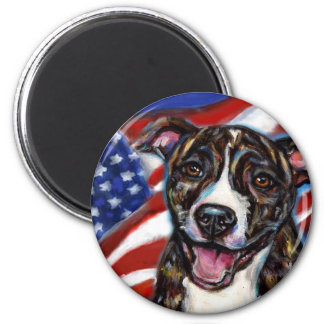 Pitbull Bob with American Flag 2 Inch Round Magnet