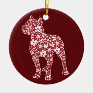 Pitbull, Boho Christmas Snowflakes Round Ceramic Ornament