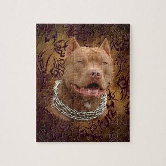 Pitbull brown tribal tattoo puzzles