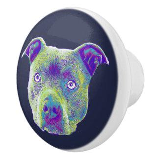Pitbull dog ceramic drawer knob pull