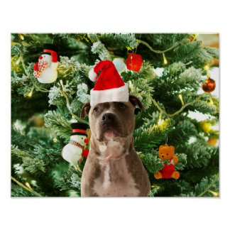 Pitbull Dog Christmas Tree Ornaments Snowman Poster