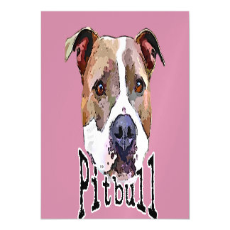Pitbull dog magnetic invitations