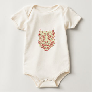 Pitbull Dog Mongrel Head Mono Line Baby Bodysuit