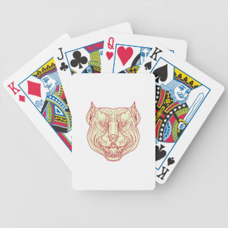 Pitbull Dog Mongrel Head Mono Line Bicycle Playing Cards