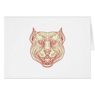 Pitbull Dog Mongrel Head Mono Line Card