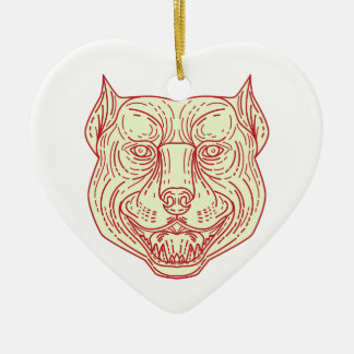 Pitbull Dog Mongrel Head Mono Line Ceramic Heart Ornament