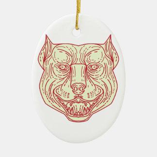 Pitbull Dog Mongrel Head Mono Line Ceramic Ornament