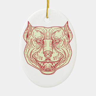 Pitbull Dog Mongrel Head Mono Line Ceramic Oval Ornament