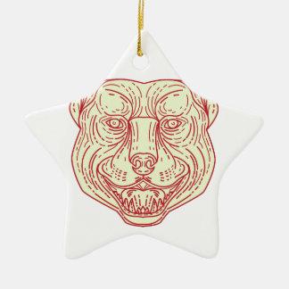 Pitbull Dog Mongrel Head Mono Line Ceramic Star Ornament
