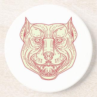 Pitbull Dog Mongrel Head Mono Line Coaster