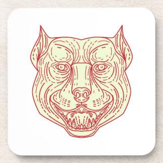 Pitbull Dog Mongrel Head Mono Line Drink Coaster