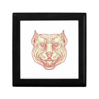 Pitbull Dog Mongrel Head Mono Line Keepsake Boxes