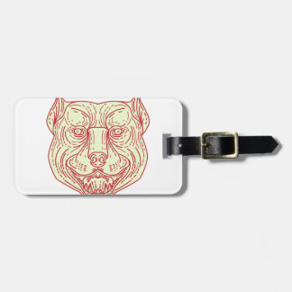Pitbull Dog Mongrel Head Mono Line Luggage Tag