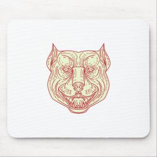Pitbull Dog Mongrel Head Mono Line Mouse Pad