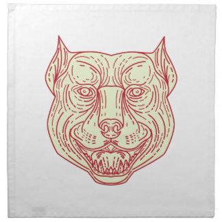 Pitbull Dog Mongrel Head Mono Line Napkin