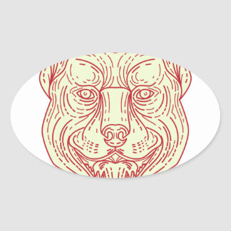Pitbull Dog Mongrel Head Mono Line Oval Sticker