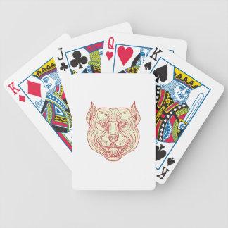 Pitbull Dog Mongrel Head Mono Line Poker Deck