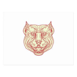 Pitbull Dog Mongrel Head Mono Line Postcard