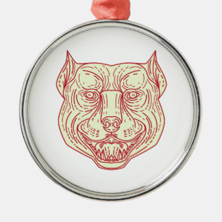 Pitbull Dog Mongrel Head Mono Line Silver-Colored Round Ornament
