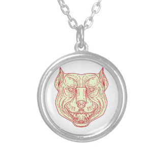 Pitbull Dog Mongrel Head Mono Line Silver Plated Necklace