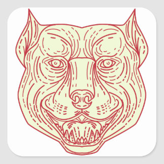 Pitbull Dog Mongrel Head Mono Line Square Sticker