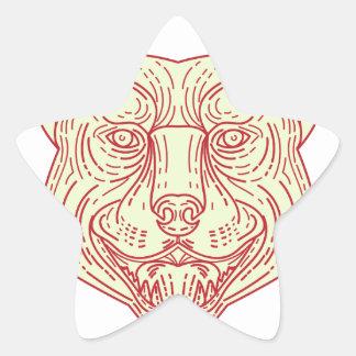 Pitbull Dog Mongrel Head Mono Line Star Sticker