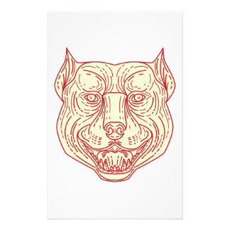 Pitbull Dog Mongrel Head Mono Line Stationery