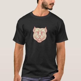 Pitbull Dog Mongrel Head Mono Line T-Shirt