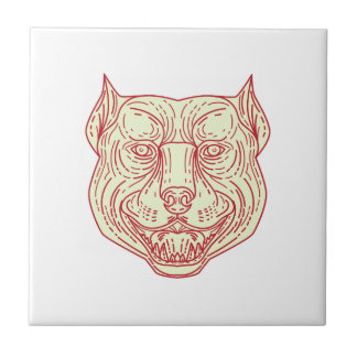 Pitbull Dog Mongrel Head Mono Line Tile