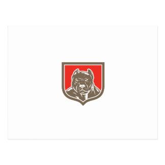 Pitbull Dog Mongrel Head Shield Woodcut Post Cards