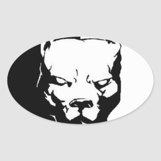 Pitbull Dog Oval Sticker