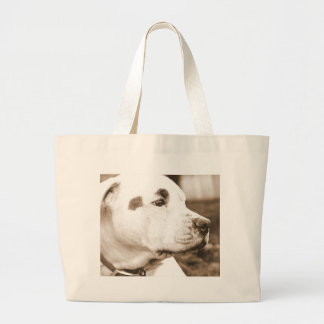 pitbull dog sepia color hate deed not breed large tote bag