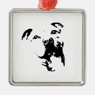 Pitbull Dog Silver-Colored Square Ornament