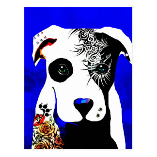 Pitbull dog with tattoos and piercings postcard