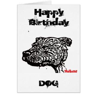 Pitbull Happy Birthday, Dog Greeting Card