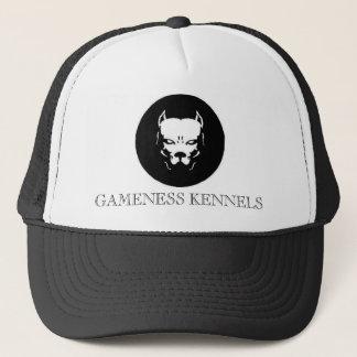Pitbull logo dog, GAMENESS KENNELS Trucker Hat